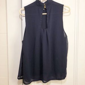 Tops - Navy Sleeveless Blouse